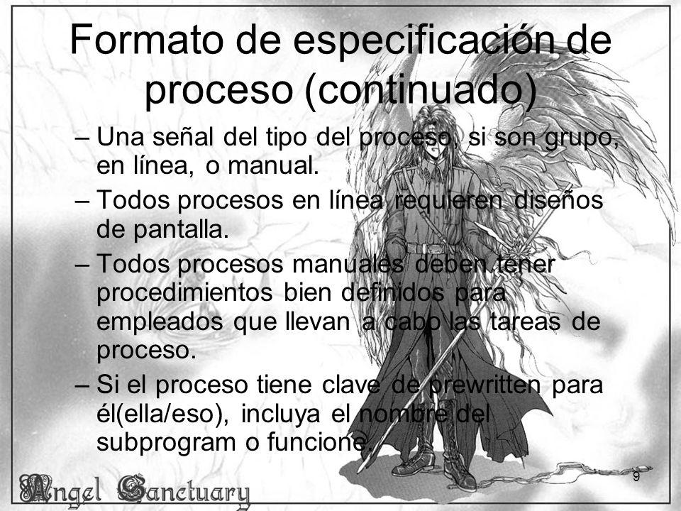 9 Formato de especificación de proceso (continuado) –Una señal del tipo del proceso, si son grupo, en línea, o manual. –Todos procesos en línea requie