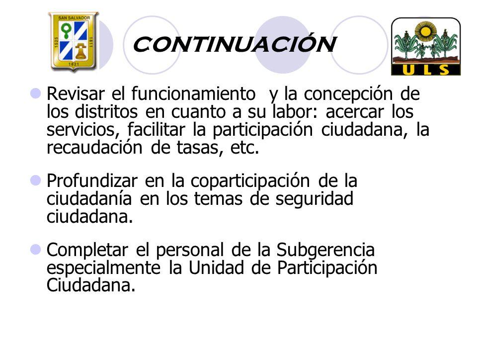CONTINUACIÓN Revisar el funcionamiento y la concepción de los distritos en cuanto a su labor: acercar los servicios, facilitar la participación ciudadana, la recaudación de tasas, etc.
