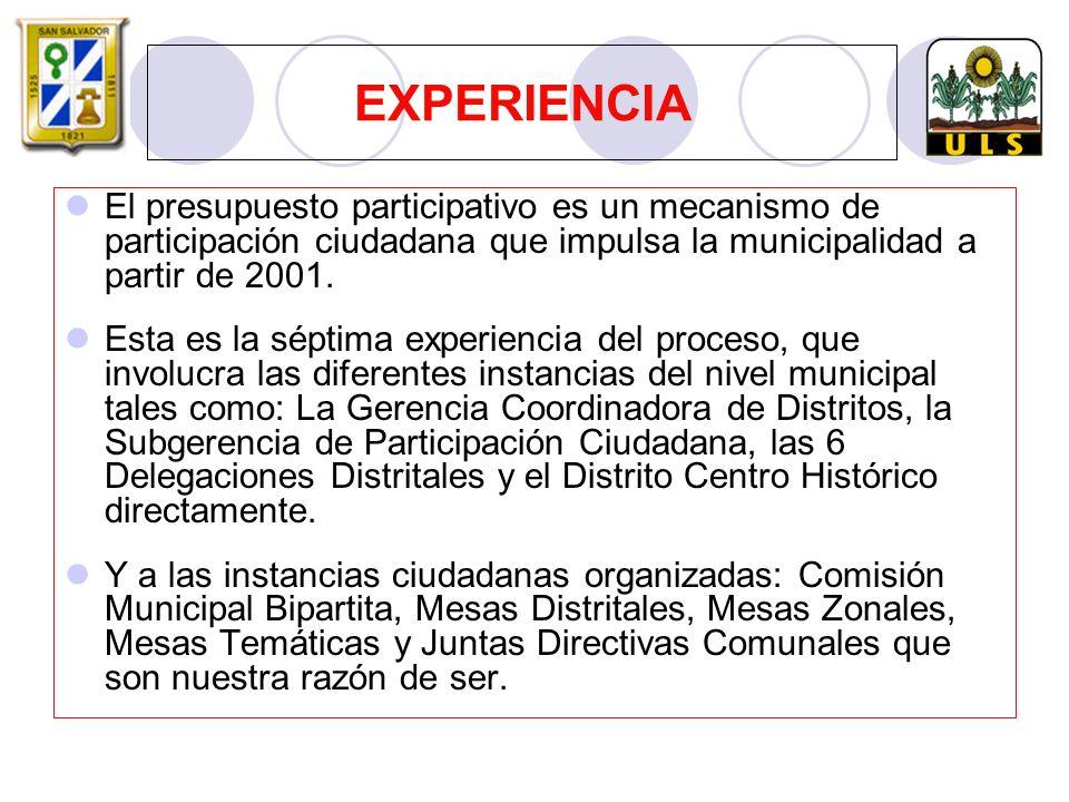 EXPERIENCIA El presupuesto participativo es un mecanismo de participación ciudadana que impulsa la municipalidad a partir de 2001.