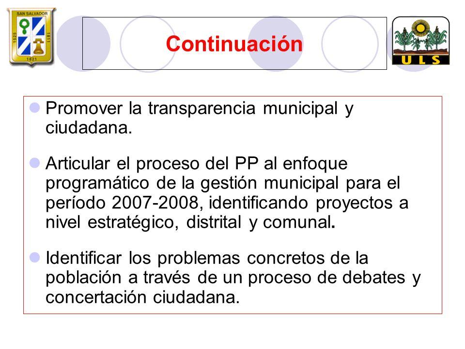 Promover la transparencia municipal y ciudadana.