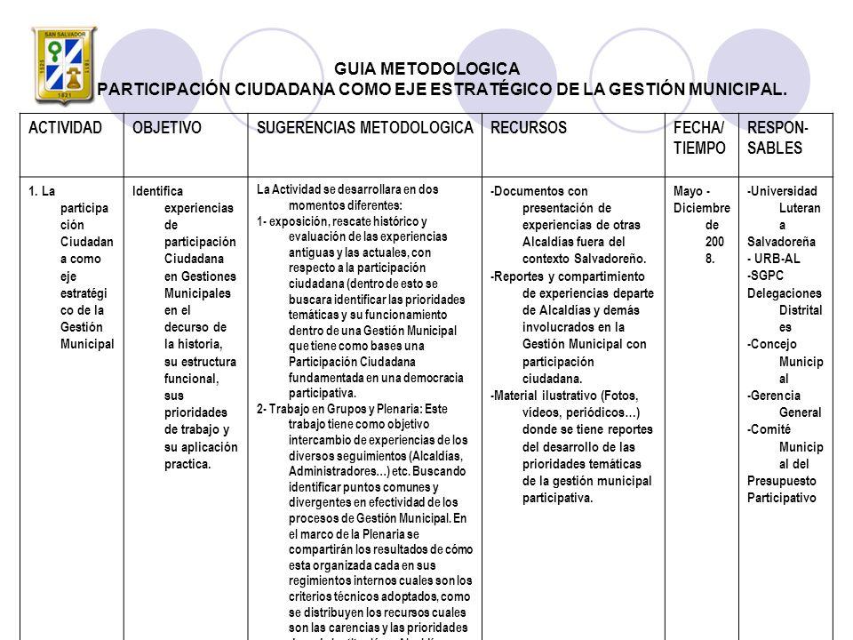 GUIA METODOLOGICA LA PARTICIPACIÓN CIUDADANA COMO EJE ESTRATÉGICO DE LA GESTIÓN MUNICIPAL.