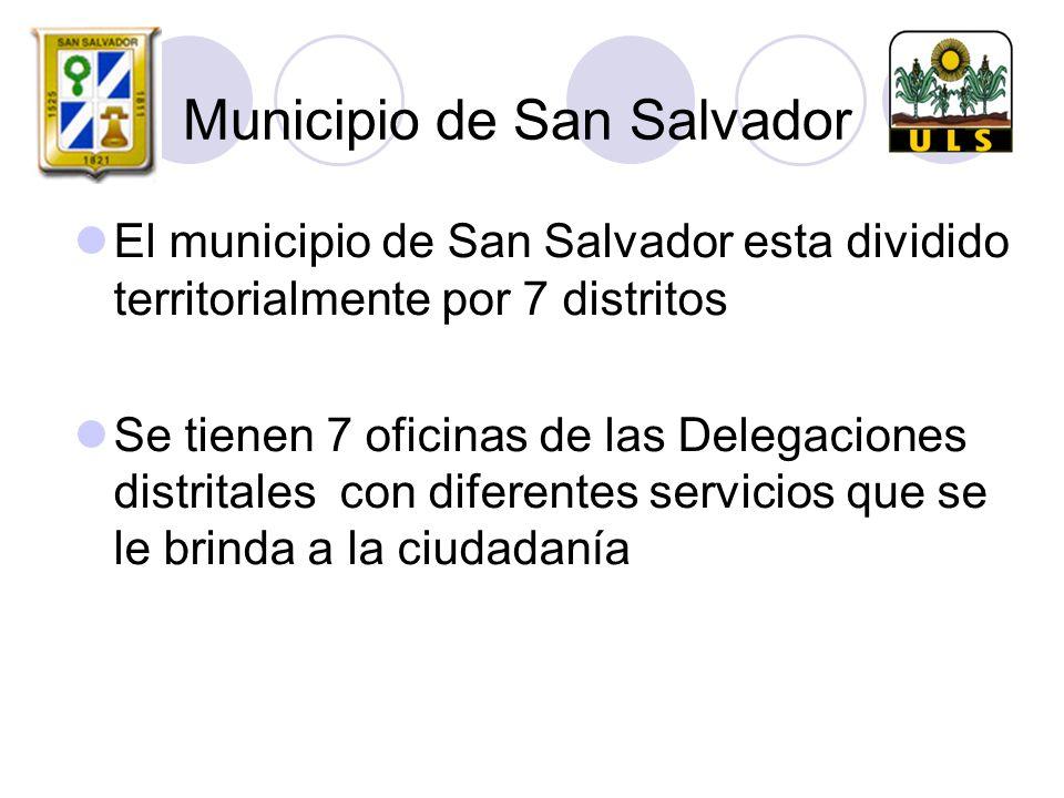 Municipio de San Salvador El municipio de San Salvador esta dividido territorialmente por 7 distritos Se tienen 7 oficinas de las Delegaciones distritales con diferentes servicios que se le brinda a la ciudadanía