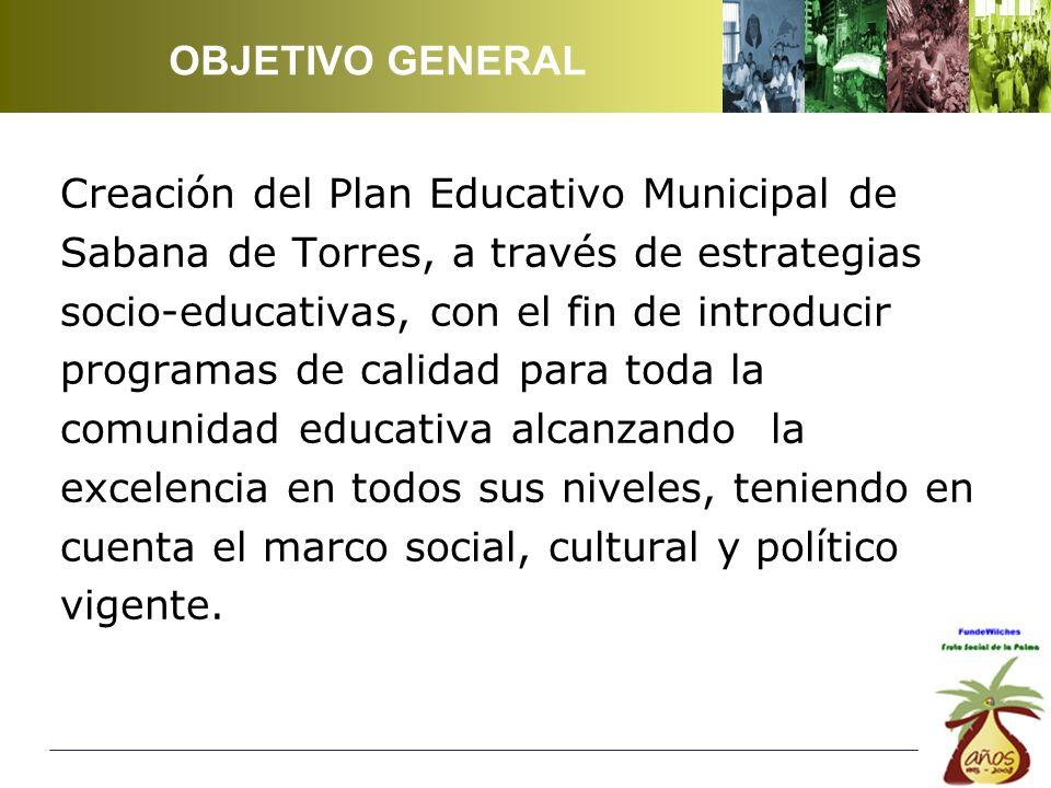 Creación del Plan Educativo Municipal de Sabana de Torres, a través de estrategias socio-educativas, con el fin de introducir programas de calidad para toda la comunidad educativa alcanzando la excelencia en todos sus niveles, teniendo en cuenta el marco social, cultural y político vigente.