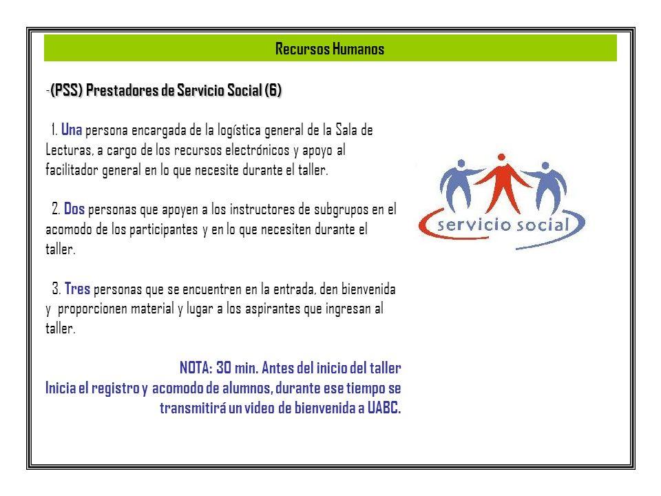 - (PSS) Prestadores de Servicio Social (6) 1. Una persona encargada de la logística general de la Sala de Lecturas, a cargo de los recursos electrónic