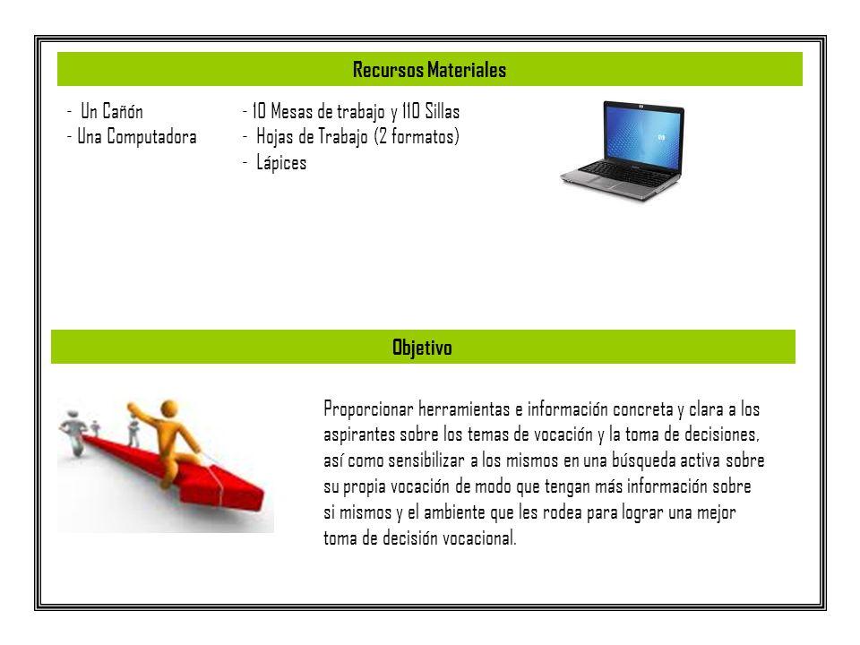 - Un Cañón - Una Computadora - 10 Mesas de trabajo y 110 Sillas - Hojas de Trabajo (2 formatos) - Lápices Proporcionar herramientas e información conc
