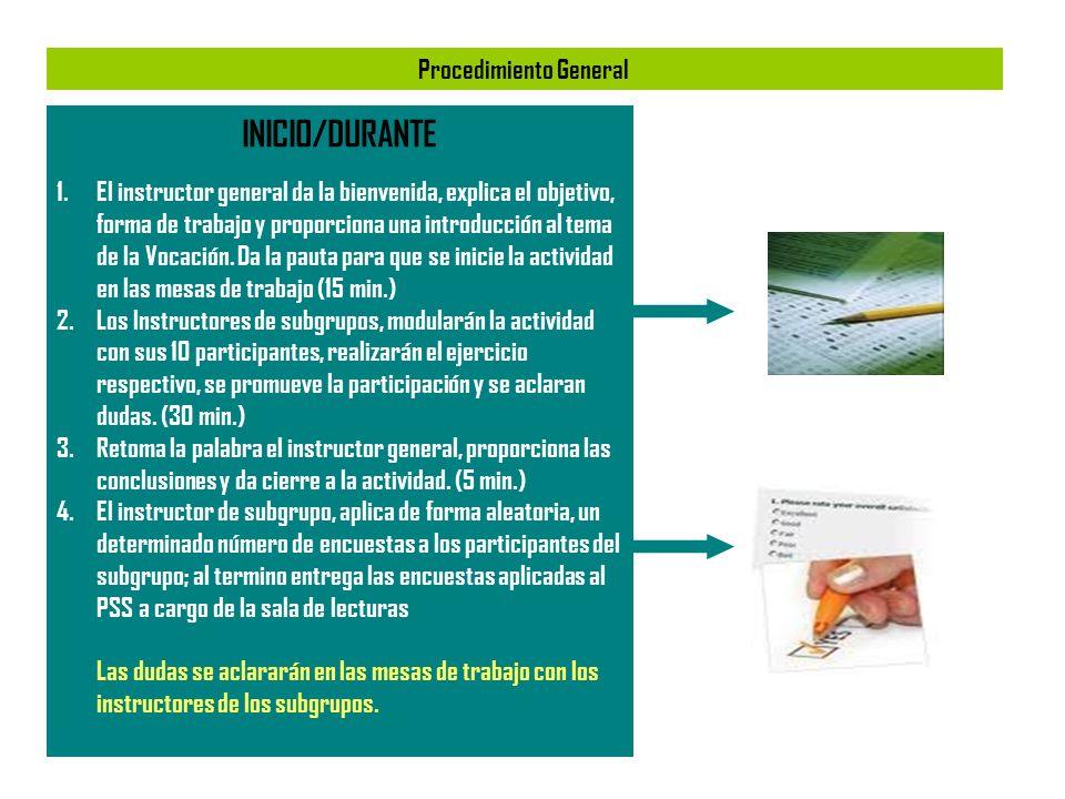 Procedimiento General INICIO/DURANTE 1.El instructor general da la bienvenida, explica el objetivo, forma de trabajo y proporciona una introducción al