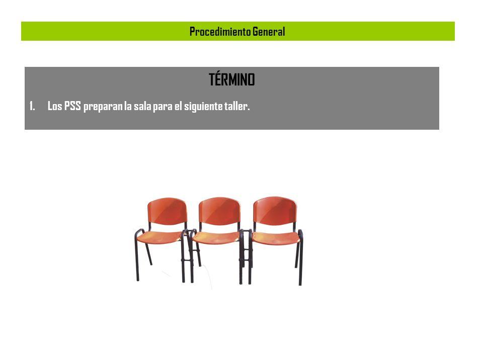 Procedimiento General TÉRMINO 1.Los PSS preparan la sala para el siguiente taller.