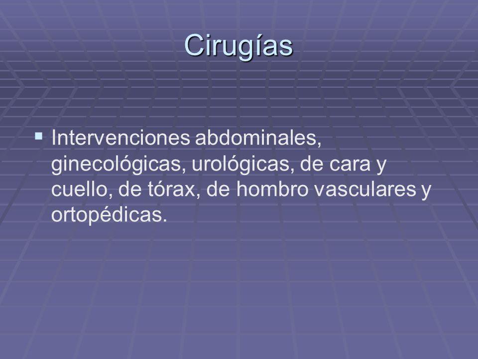 Cirugías Intervenciones abdominales, ginecológicas, urológicas, de cara y cuello, de tórax, de hombro vasculares y ortopédicas.