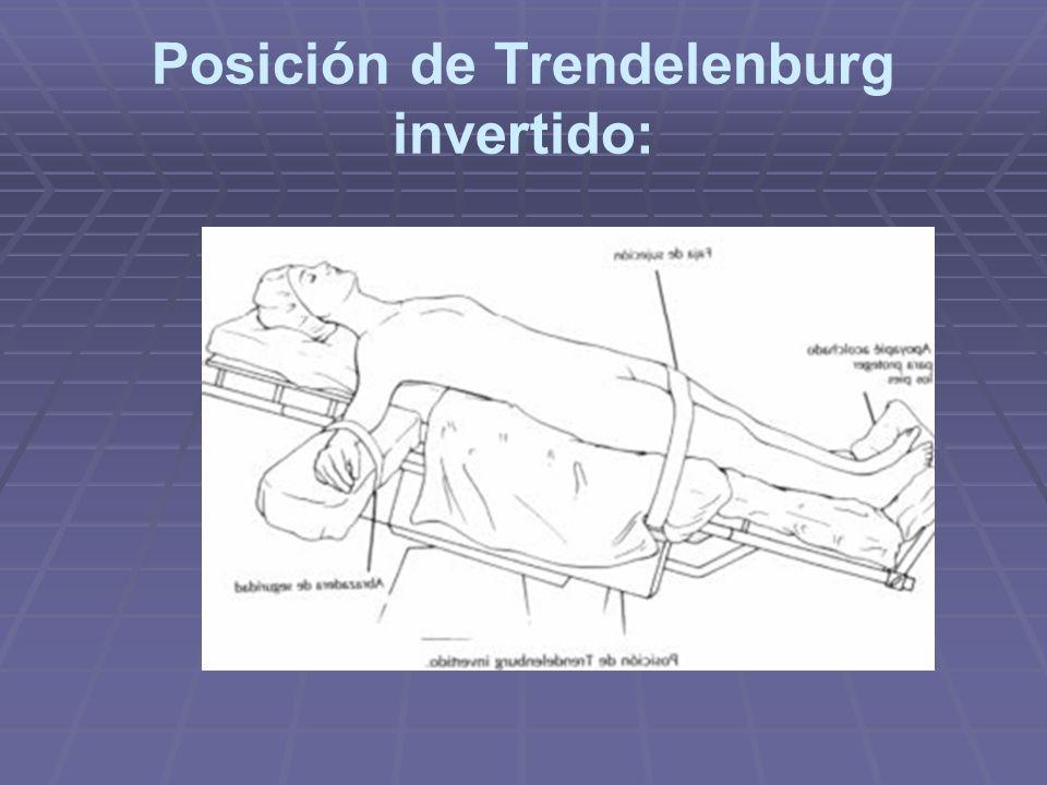 Posición de Trendelenburg invertido: