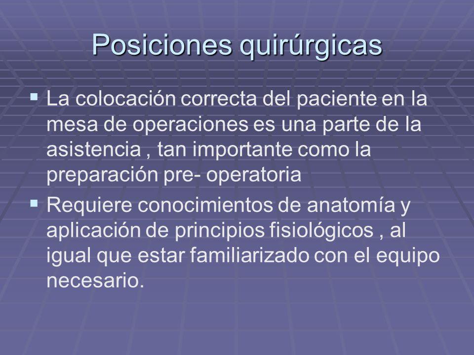 Posiciones quirúrgicas La colocación correcta del paciente en la mesa de operaciones es una parte de la asistencia, tan importante como la preparación