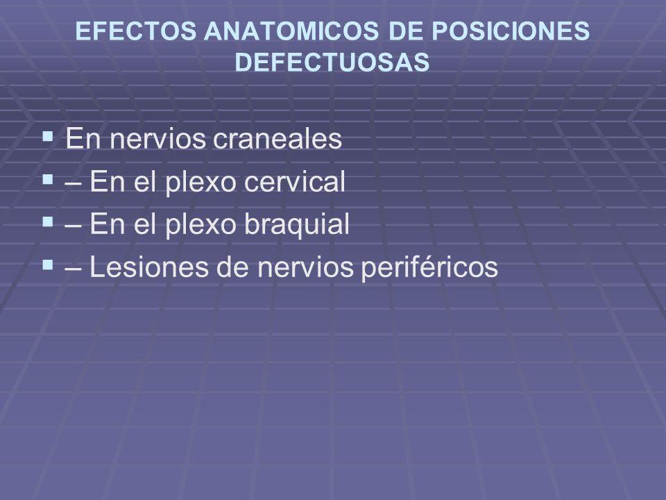EFECTOS ANATOMICOS DE POSICIONES DEFECTUOSAS En nervios craneales – En el plexo cervical – En el plexo braquial – Lesiones de nervios periféricos