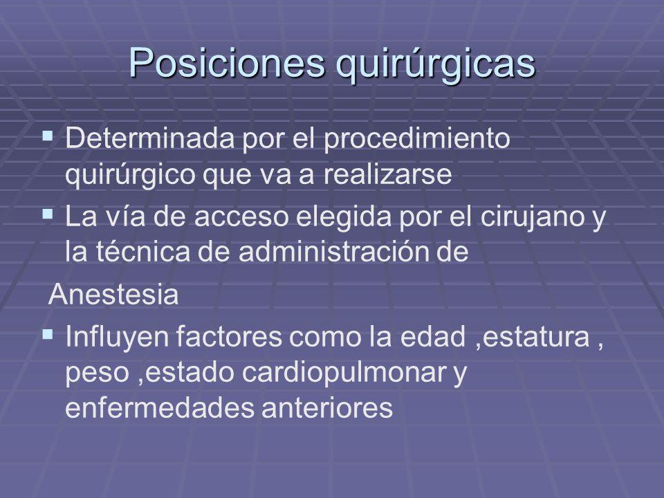 Posiciones quirúrgicas Determinada por el procedimiento quirúrgico que va a realizarse La vía de acceso elegida por el cirujano y la técnica de admini