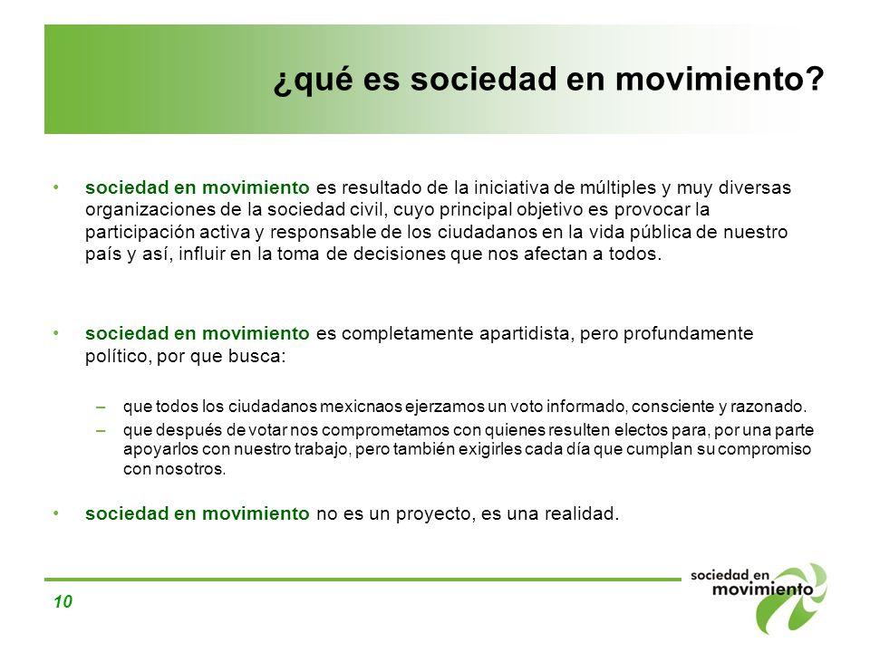 10 ¿qué es sociedad en movimiento? sociedad en movimiento es resultado de la iniciativa de múltiples y muy diversas organizaciones de la sociedad civi