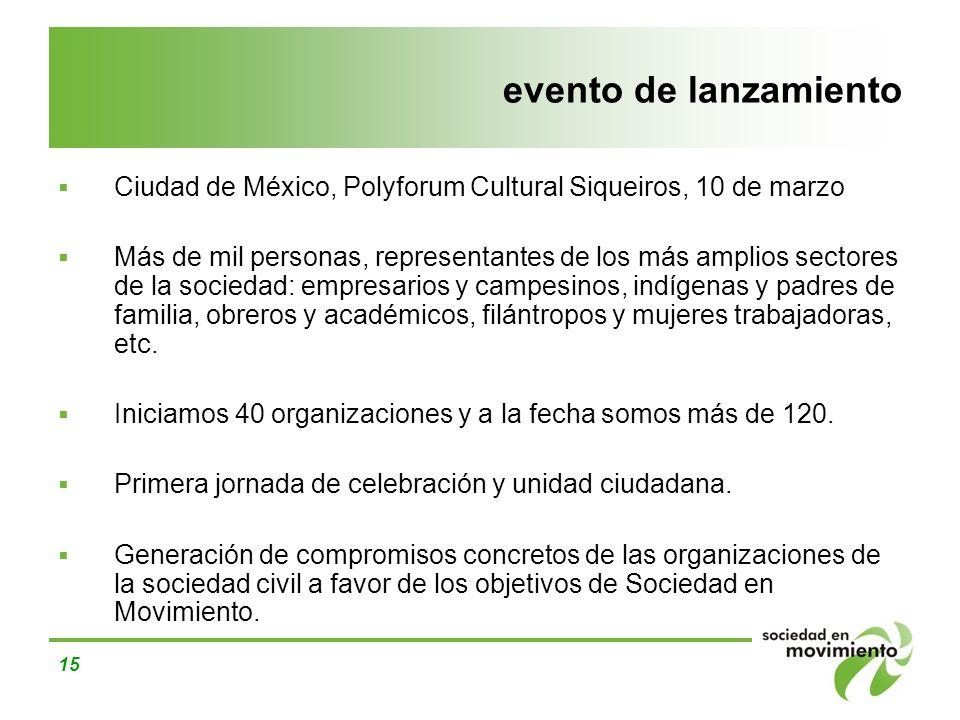 15 evento de lanzamiento Ciudad de México, Polyforum Cultural Siqueiros, 10 de marzo Más de mil personas, representantes de los más amplios sectores d