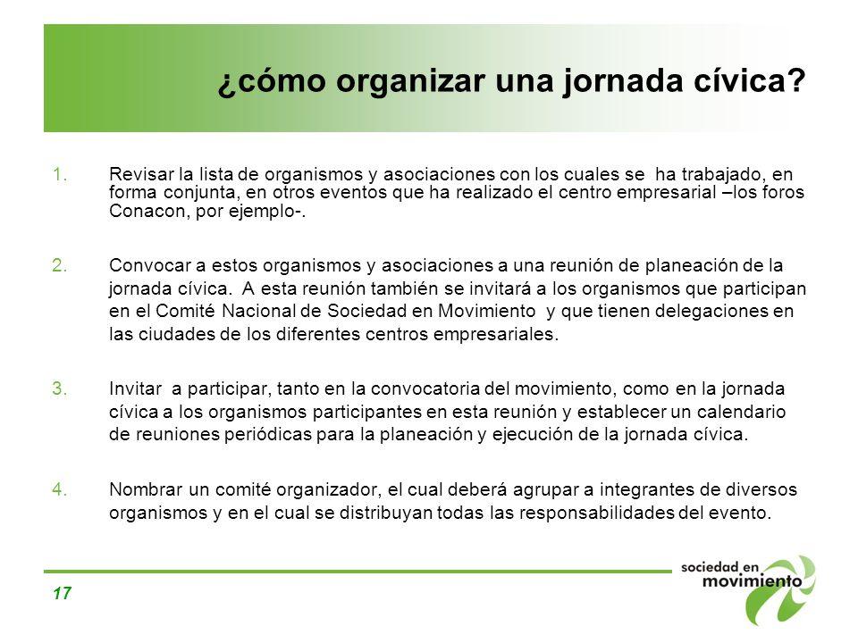 17 ¿cómo organizar una jornada cívica? Revisar la lista de organismos y asociaciones con los cuales se ha trabajado, en forma conjunta, en otros event