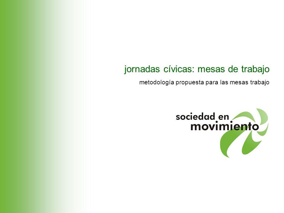 jornadas cívicas: mesas de trabajo metodología propuesta para las mesas trabajo