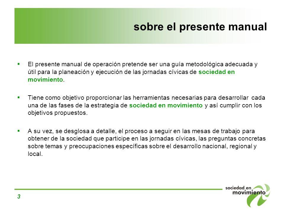 3 sobre el presente manual El presente manual de operación pretende ser una guía metodológica adecuada y útil para la planeación y ejecución de las jo