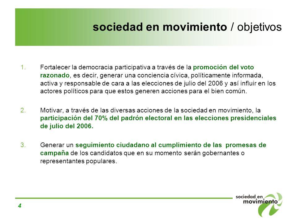 4 sociedad en movimiento / objetivos 1.Fortalecer la democracia participativa a través de la promoción del voto razonado, es decir, generar una concie