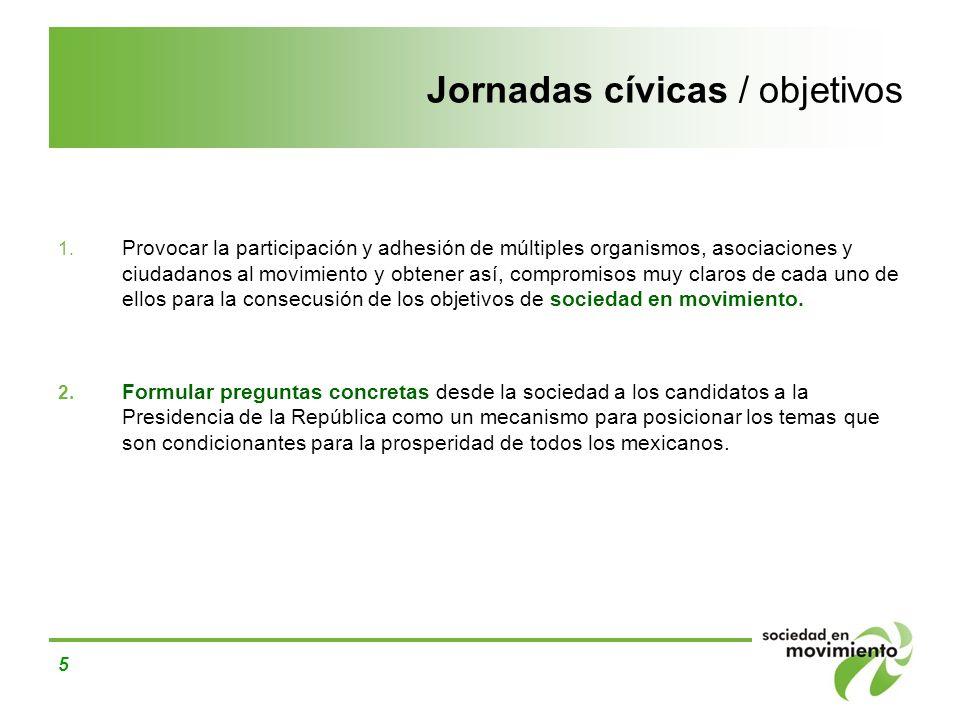 5 Jornadas cívicas / objetivos 1. Provocar la participación y adhesión de múltiples organismos, asociaciones y ciudadanos al movimiento y obtener así,