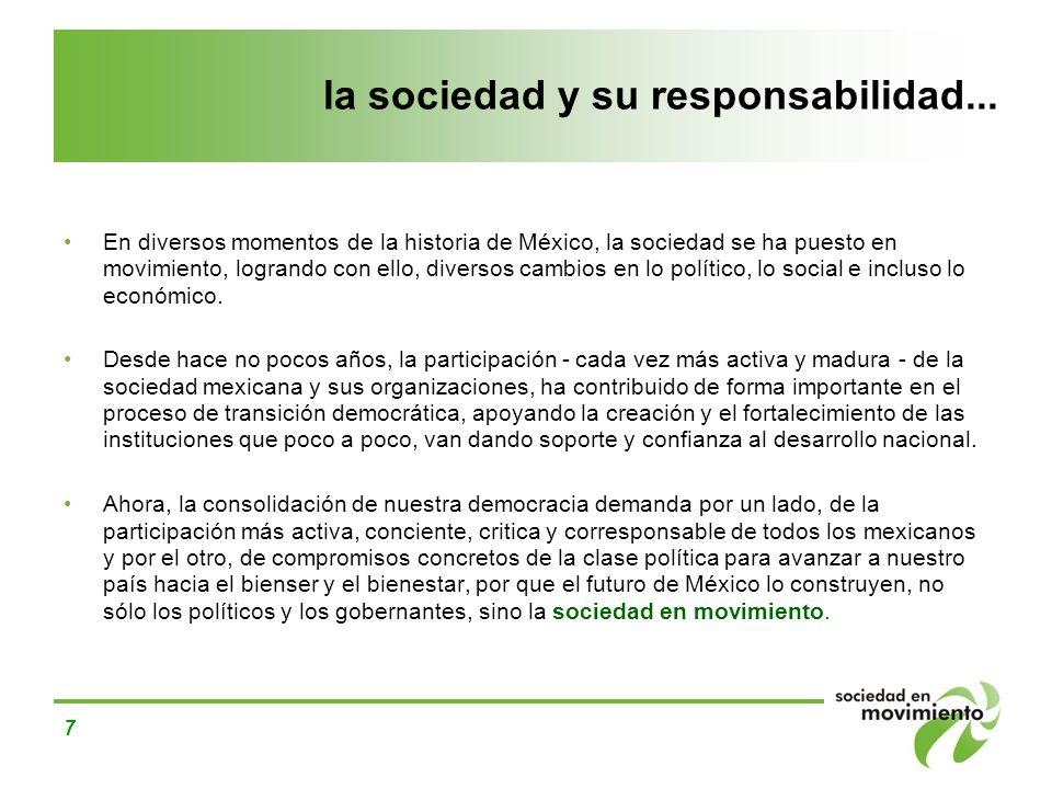 7 la sociedad y su responsabilidad... En diversos momentos de la historia de México, la sociedad se ha puesto en movimiento, logrando con ello, divers