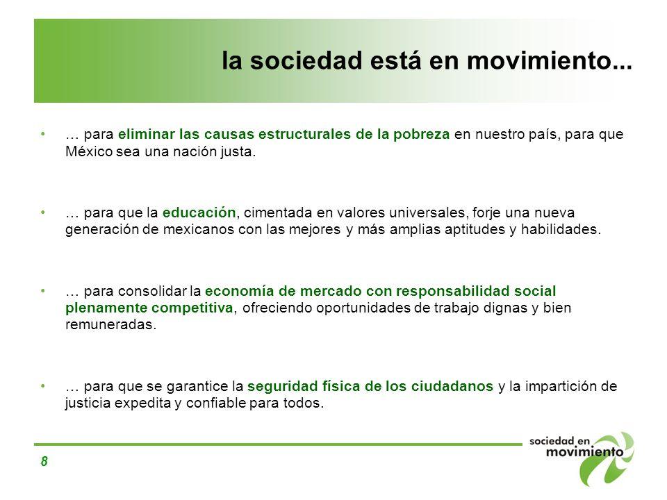 8 la sociedad está en movimiento... … para eliminar las causas estructurales de la pobreza en nuestro país, para que México sea una nación justa. … pa