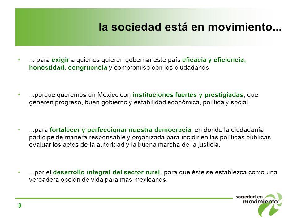 9 la sociedad está en movimiento...... para exigir a quienes quieren gobernar este país eficacia y eficiencia, honestidad, congruencia y compromiso co