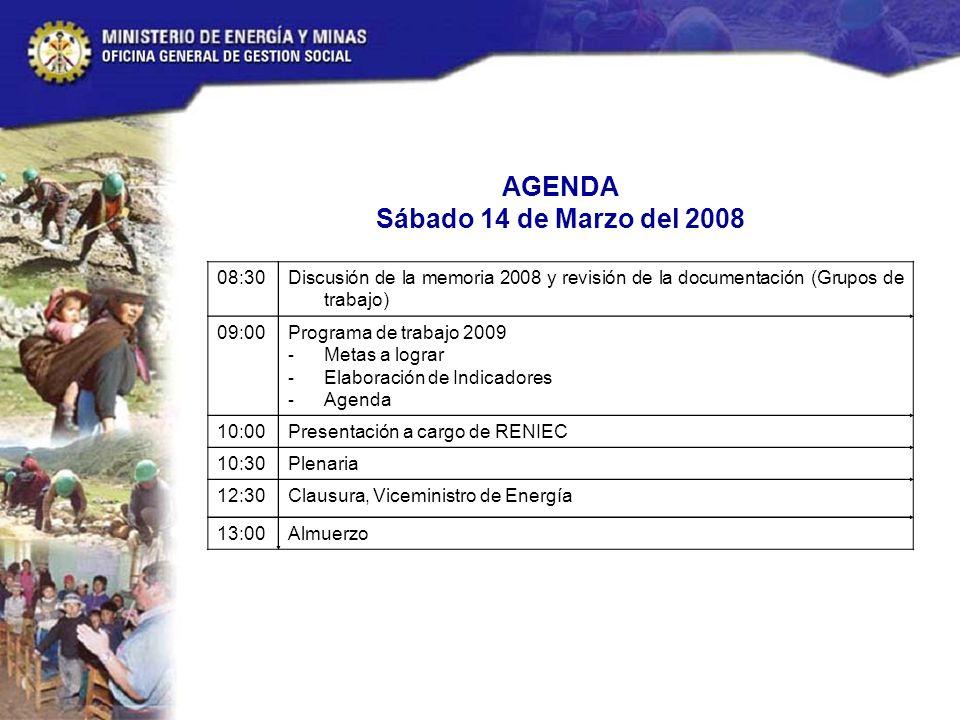 AGENDA Sábado 14 de Marzo del 2008 08:30Discusión de la memoria 2008 y revisión de la documentación (Grupos de trabajo) 09:00Programa de trabajo 2009 - Metas a lograr - Elaboración de Indicadores - Agenda 10:00Presentación a cargo de RENIEC 10:30Plenaria 12:30Clausura, Viceministro de Energía 13:00Almuerzo