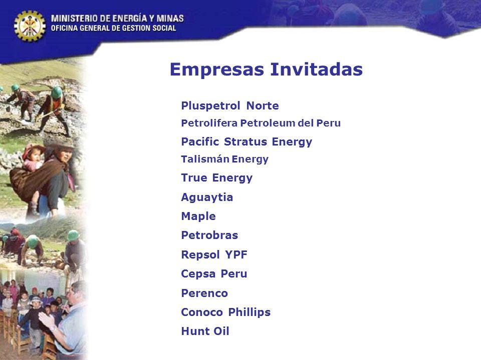 Pluspetrol Norte Petrolifera Petroleum del Peru Pacific Stratus Energy Talismán Energy True Energy Aguaytia Maple Petrobras Repsol YPF Cepsa Peru Perenco Conoco Phillips Hunt Oil Empresas Invitadas