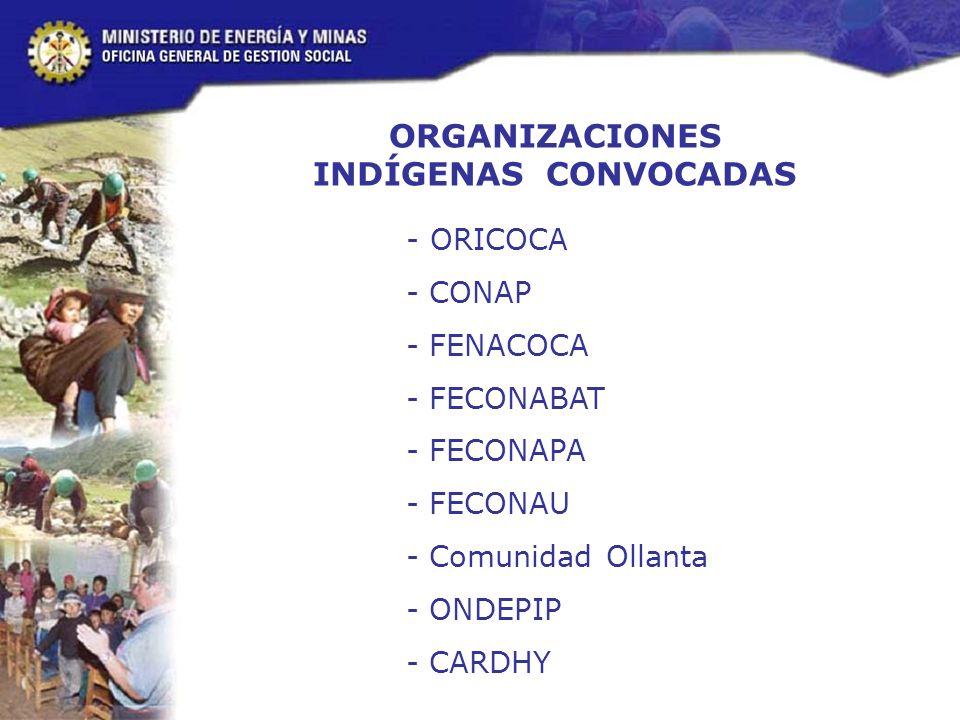 ORGANIZACIONES INDÍGENAS CONVOCADAS - ORICOCA - CONAP - FENACOCA - FECONABAT - FECONAPA - FECONAU - Comunidad Ollanta - ONDEPIP - CARDHY