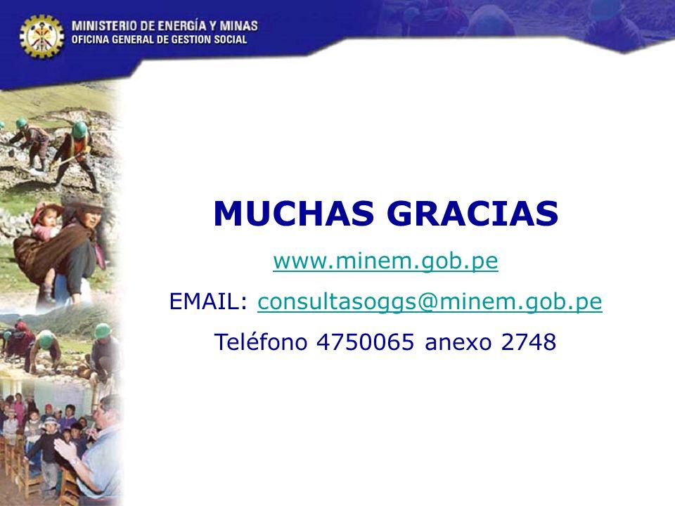 MUCHAS GRACIAS www.minem.gob.pe EMAIL: consultasoggs@minem.gob.peconsultasoggs@minem.gob.pe Teléfono 4750065 anexo 2748