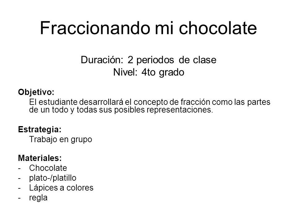 Fraccionando mi chocolate Duración: 2 periodos de clase Nivel: 4to grado Objetivo: El estudiante desarrollará el concepto de fracción como las partes