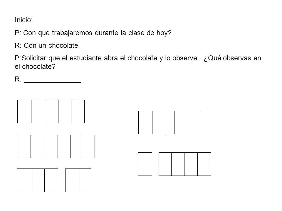 Inicio: P: Con que trabajaremos durante la clase de hoy? R: Con un chocolate P:Solicitar que el estudiante abra el chocolate y lo observe. ¿Qué observ