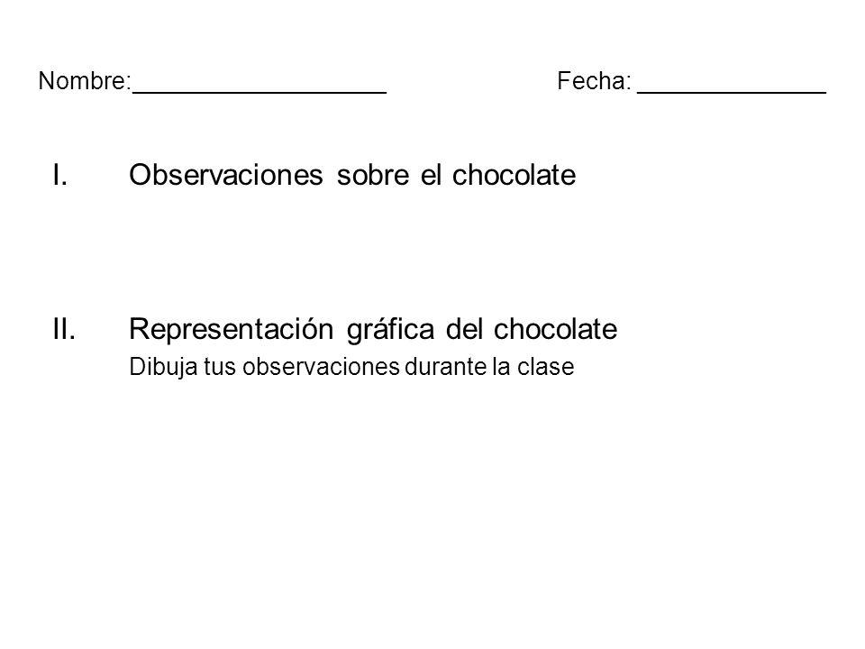 Nombre:___________________Fecha: ______________ I.Observaciones sobre el chocolate II.Representación gráfica del chocolate Dibuja tus observaciones du