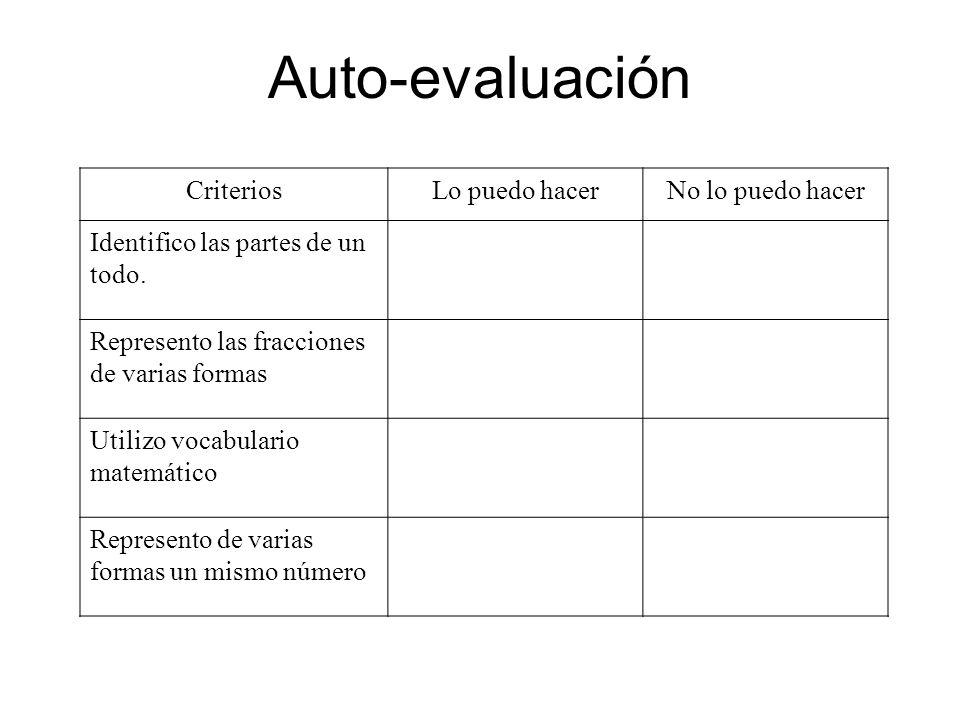 Auto-evaluación CriteriosLo puedo hacerNo lo puedo hacer Identifico las partes de un todo. Represento las fracciones de varias formas Utilizo vocabula