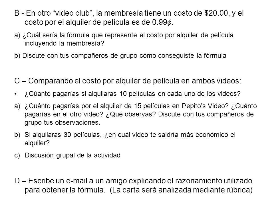 B - En otro video club, la membresía tiene un costo de $20.00, y el costo por el alquiler de película es de 0.99¢. a) ¿Cuál sería la fórmula que repre