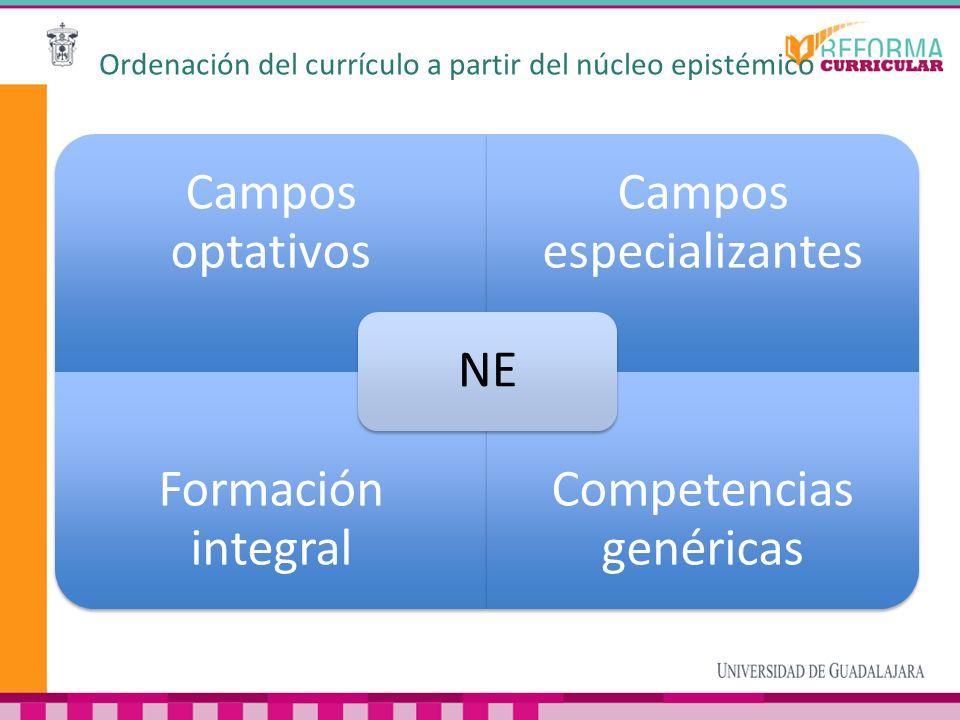 Ordenación del currículo a partir del núcleo epistémico Campos optativos Campos especializantes Formación integral Competencias genéricas NE