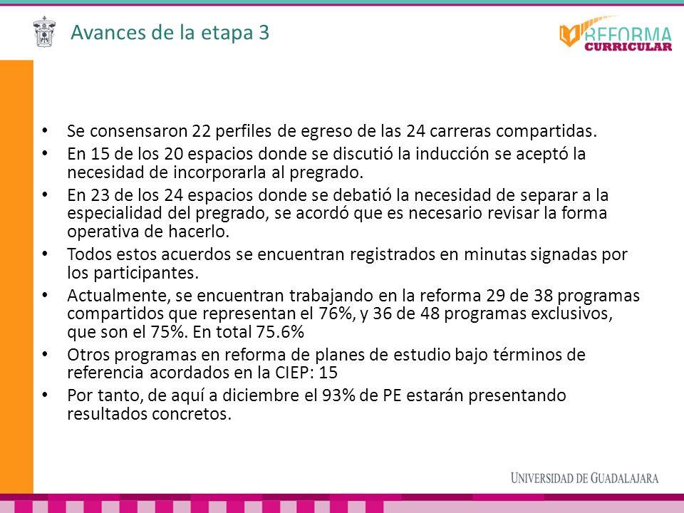 Avances de la etapa 3 Se consensaron 22 perfiles de egreso de las 24 carreras compartidas. En 15 de los 20 espacios donde se discutió la inducción se