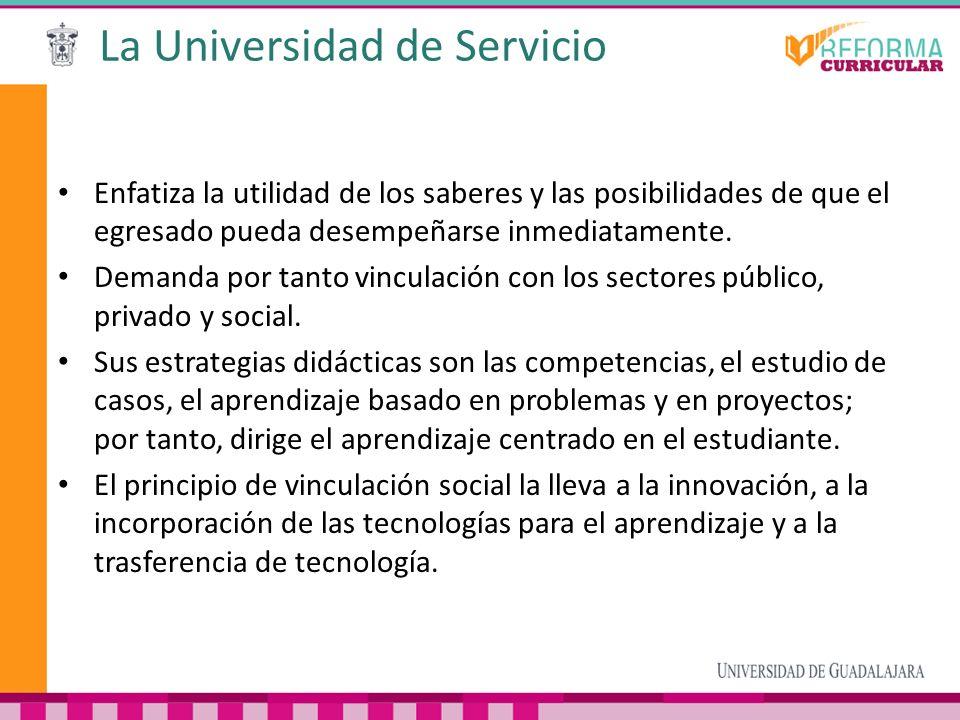 La Universidad de Servicio Enfatiza la utilidad de los saberes y las posibilidades de que el egresado pueda desempeñarse inmediatamente. Demanda por t