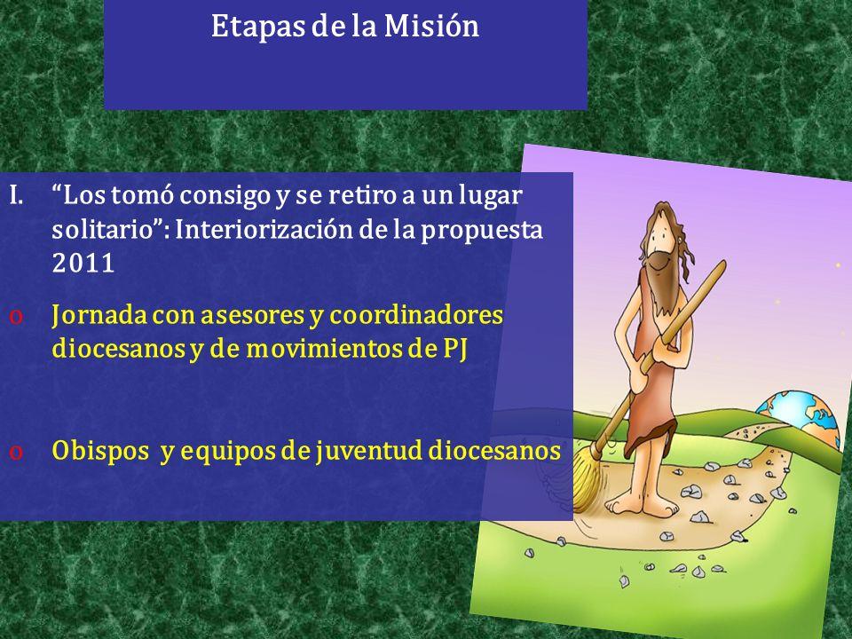 Etapas de la Misión I.Los tomó consigo y se retiro a un lugar solitario: Interiorización de la propuesta 2011 oJornada con asesores y coordinadores di