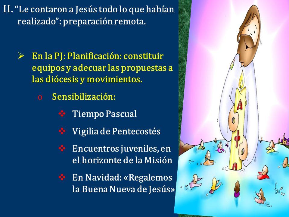 II. Le contaron a Jesús todo lo que habían realizado: preparación remota. En la PJ: Planificación: constituir equipos y adecuar las propuestas a las d