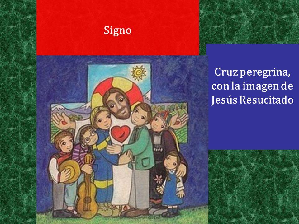 Signo Cruz peregrina, con la imagen de Jesús Resucitado