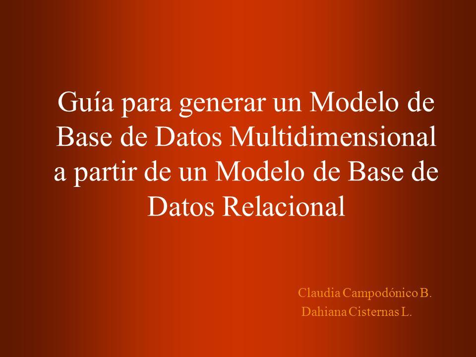 Guía para generar un Modelo de Base de Datos Multidimensional a partir de un Modelo de Base de Datos Relacional Claudia Campodónico B. Dahiana Cistern