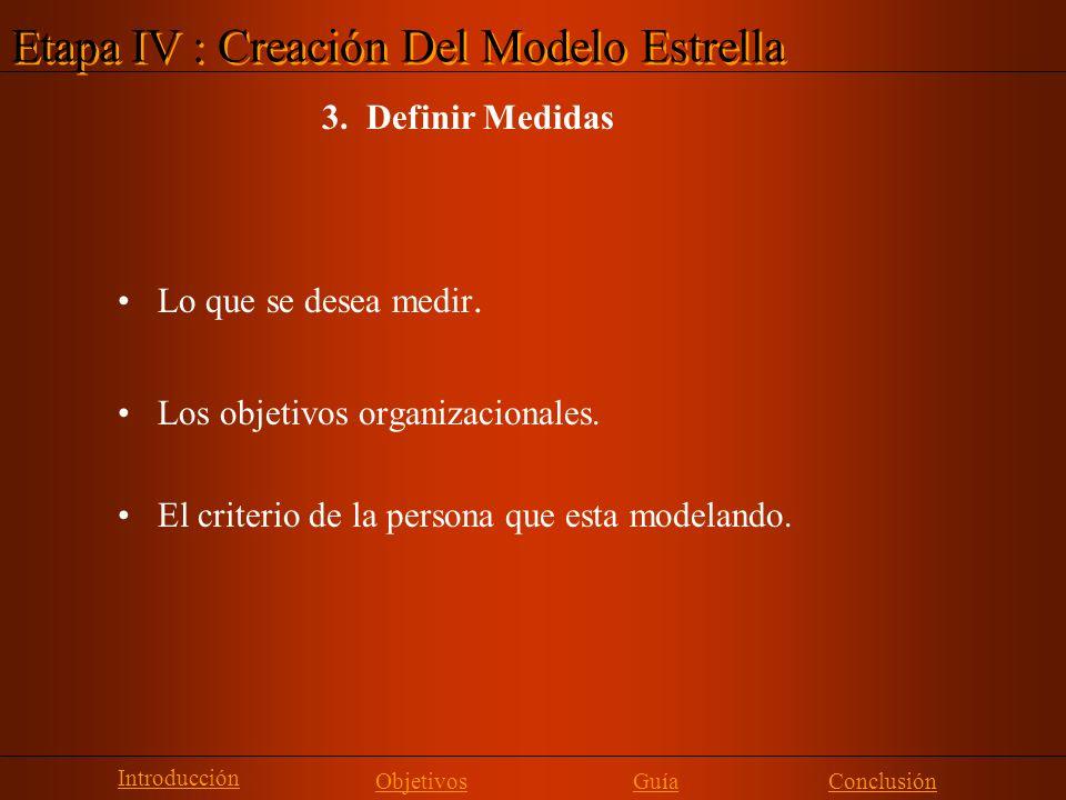 Lo que se desea medir. Los objetivos organizacionales. El criterio de la persona que esta modelando. Etapa IV : Creación Del Modelo Estrella 3. Defini