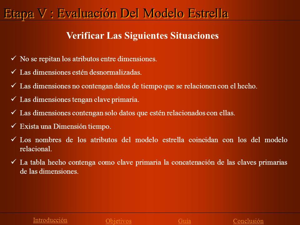 Etapa V : Evaluación Del Modelo Estrella Introducción Objetivos Guía Verificar Las Siguientes Situaciones No se repitan los atributos entre dimensione