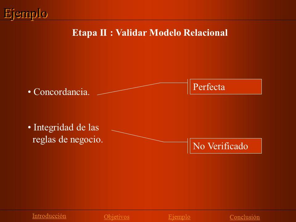 Ejemplo Etapa II : Validar Modelo Relacional Perfecta Concordancia. Integridad de las reglas de negocio. No Verificado Introducción Objetivos Conclusi