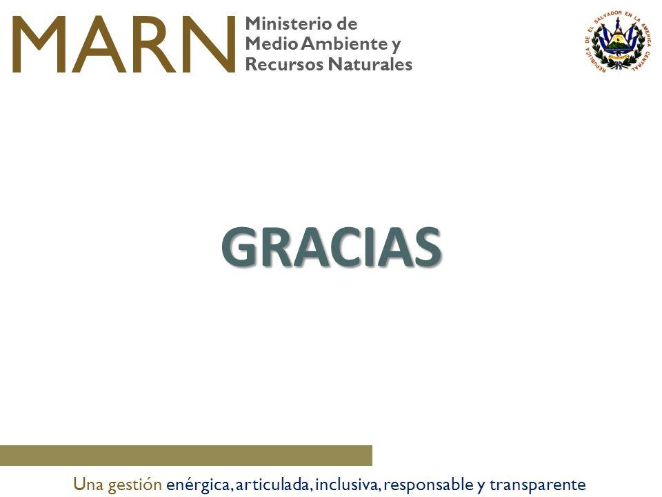 Ministerio de Medio Ambiente y Recursos Naturales MARN Una gestión enérgica, articulada, inclusiva, responsable y transparente GRACIAS