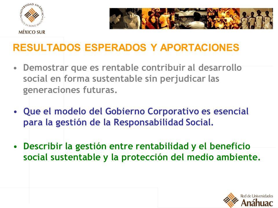 RESULTADOS ESPERADOS Y APORTACIONES Demostrar que es rentable contribuir al desarrollo social en forma sustentable sin perjudicar las generaciones fut