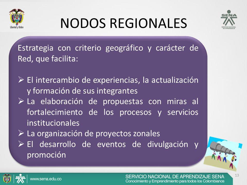 13 NODOS REGIONALES Estrategia con criterio geográfico y carácter de Red, que facilita: El intercambio de experiencias, la actualización y formación d