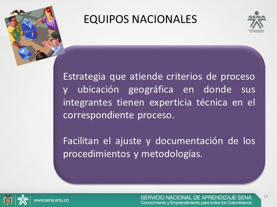 16 EQUIPOS NACIONALES Estrategia que atiende criterios de proceso y ubicación geográfica en donde sus integrantes tienen experticia técnica en el corr