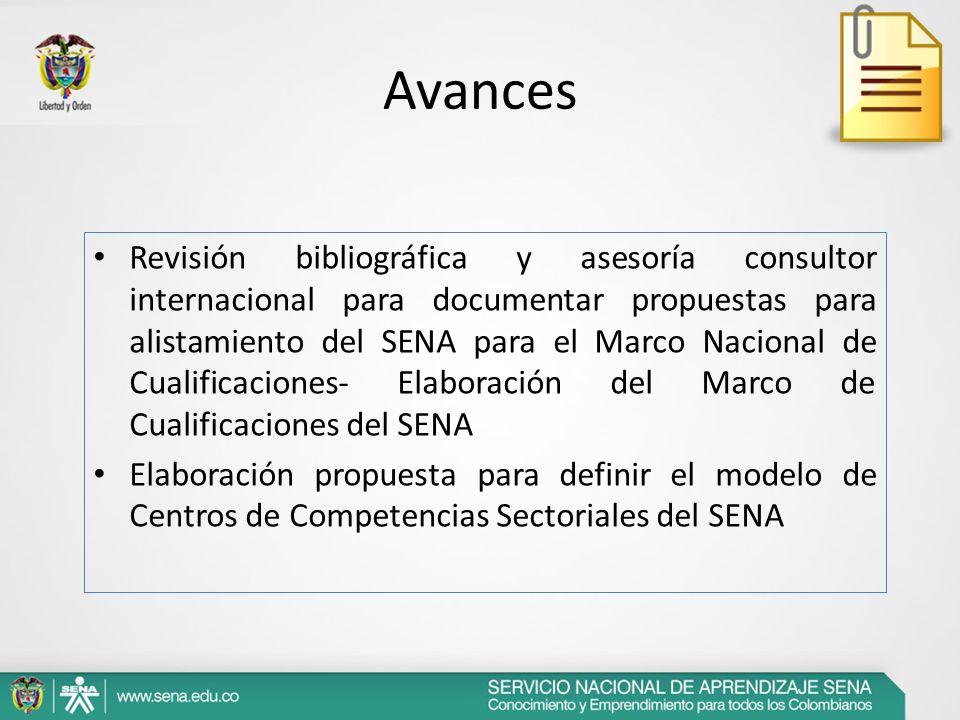 Avances Revisión bibliográfica y asesoría consultor internacional para documentar propuestas para alistamiento del SENA para el Marco Nacional de Cual